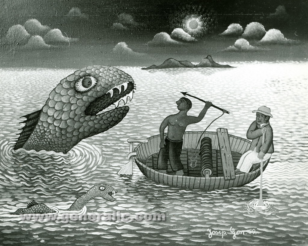 Josip Generalic, 1969, Monster fish, oil on canvas