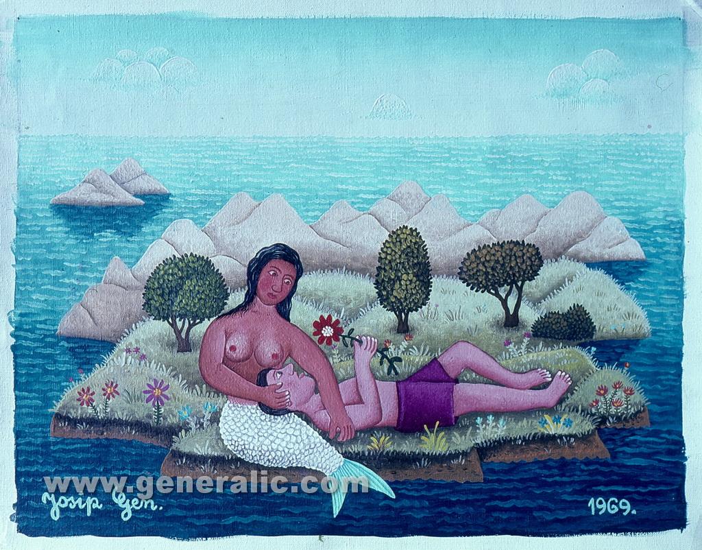 Josip Generalic, 1969, My mermaid, oil on canvas