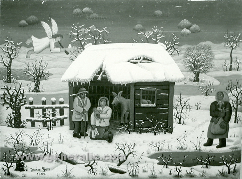Josip Generalic, 1969, Newborn in a barn, oil on glass