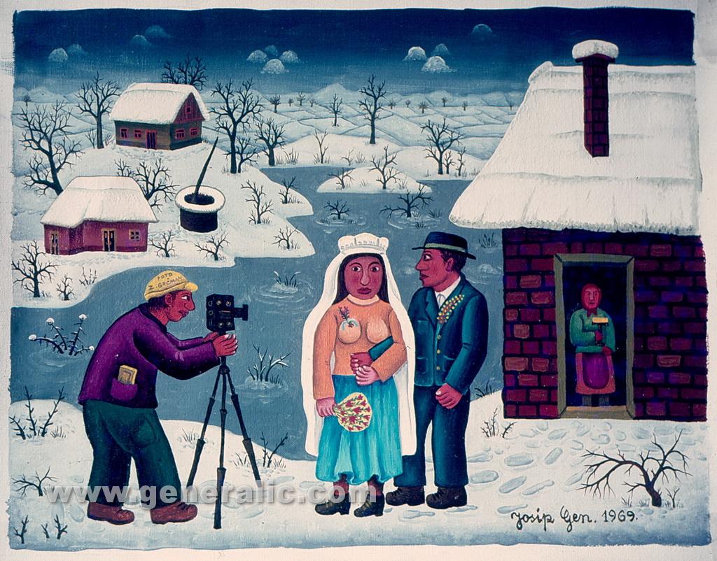 Josip Generalic, 1969, Photographing newlyweds, oil on canvas