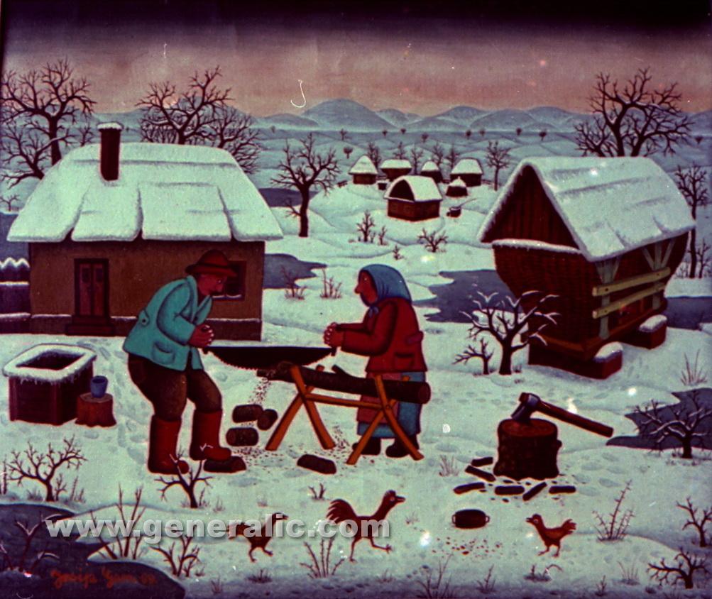 Josip Generalic, 1969, Preparing wood for winter, oil on glass