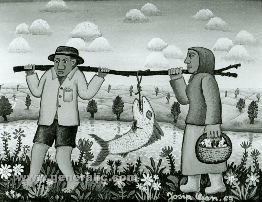 Josip Generalic, 1969, Return from fishing, oil on canvas