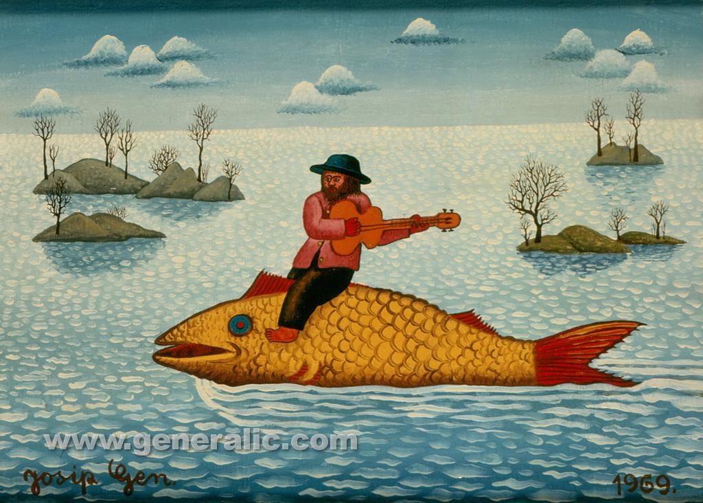 Josip Generalic, 1969, Riding a fish, oil on canvas