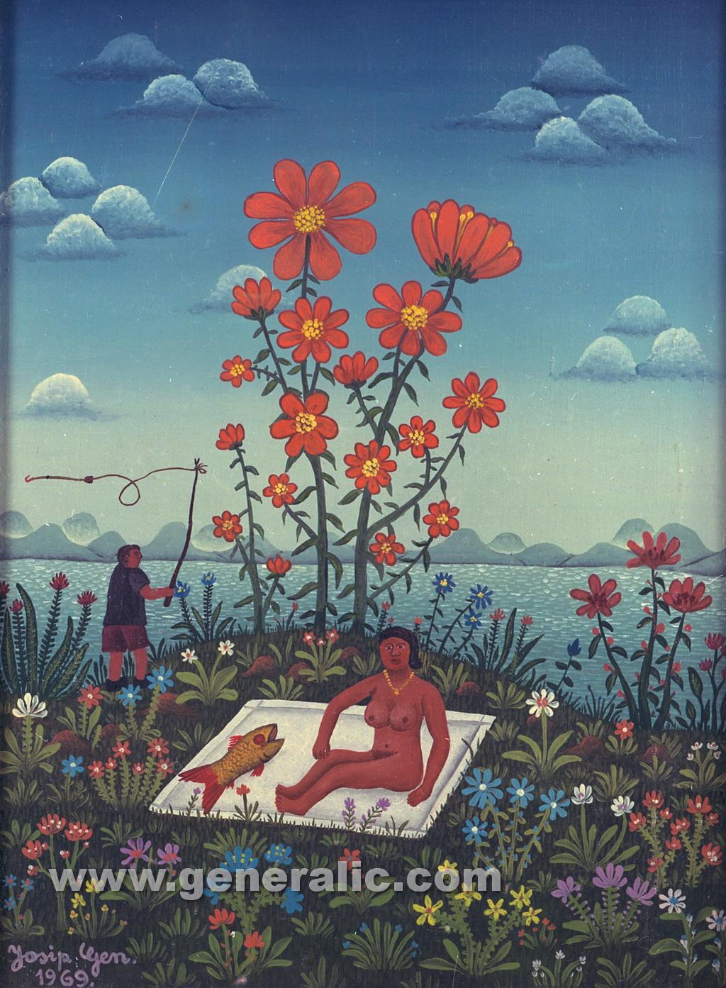 Josip Generalic, 1969, Sunbathing under flower, oil on canvas