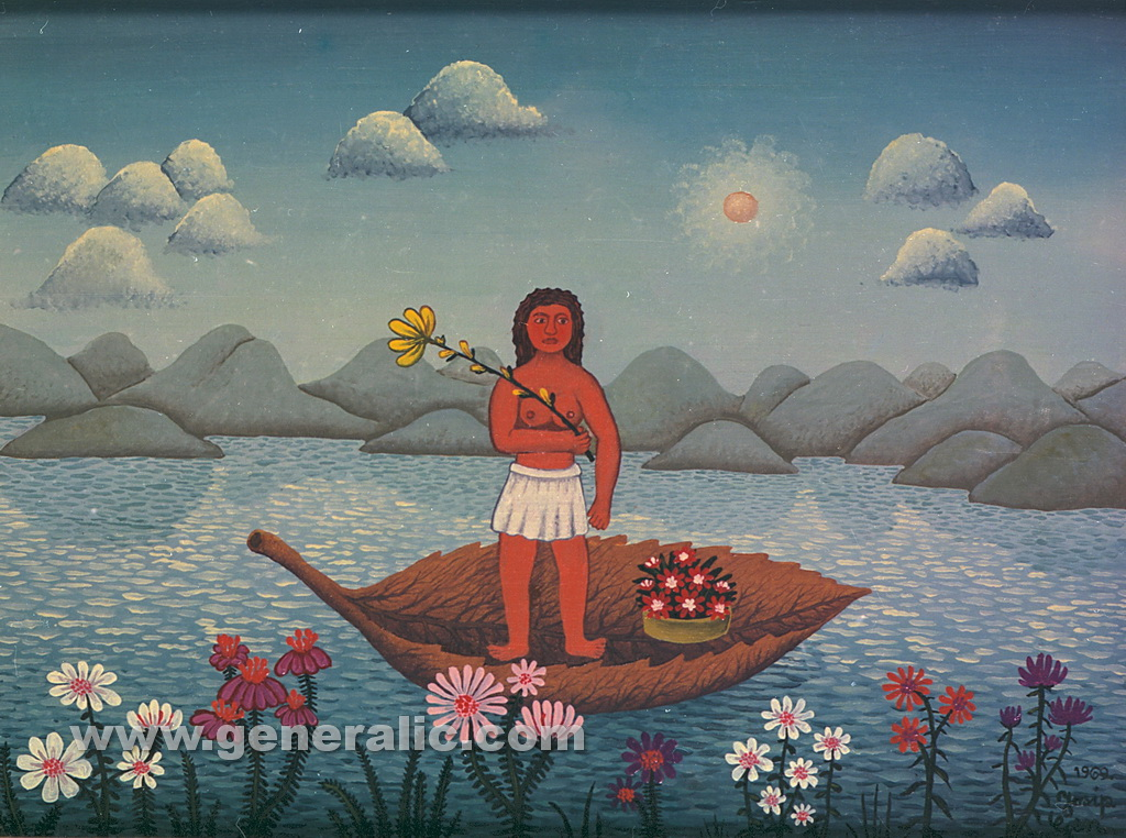 Josip Generalic, 1969, Woman on a river, oil on canvas