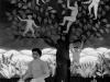 Josip Generalic, 1960, Picking apples, oil on glass