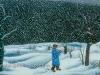 Josip Generalic, 1961, Snowing, oil on glass, 34x44 cm