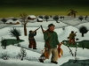 Josip Generalic, 1963, Hunters in winter, oil on glass, 30x42 cm