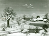 Josip Generalic, 1965, Winter with one house, oil on glass