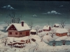 Josip Generalic, 1966, Winter with four houses, oil on canvas