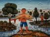 Josip Generalic, 1969, Boy with big fish, oil on canvas
