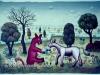 Josip Generalic, 1969, Horses playing, oil on canvas