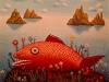 Josip Generalic, 1969, Red fish, oil on canvas