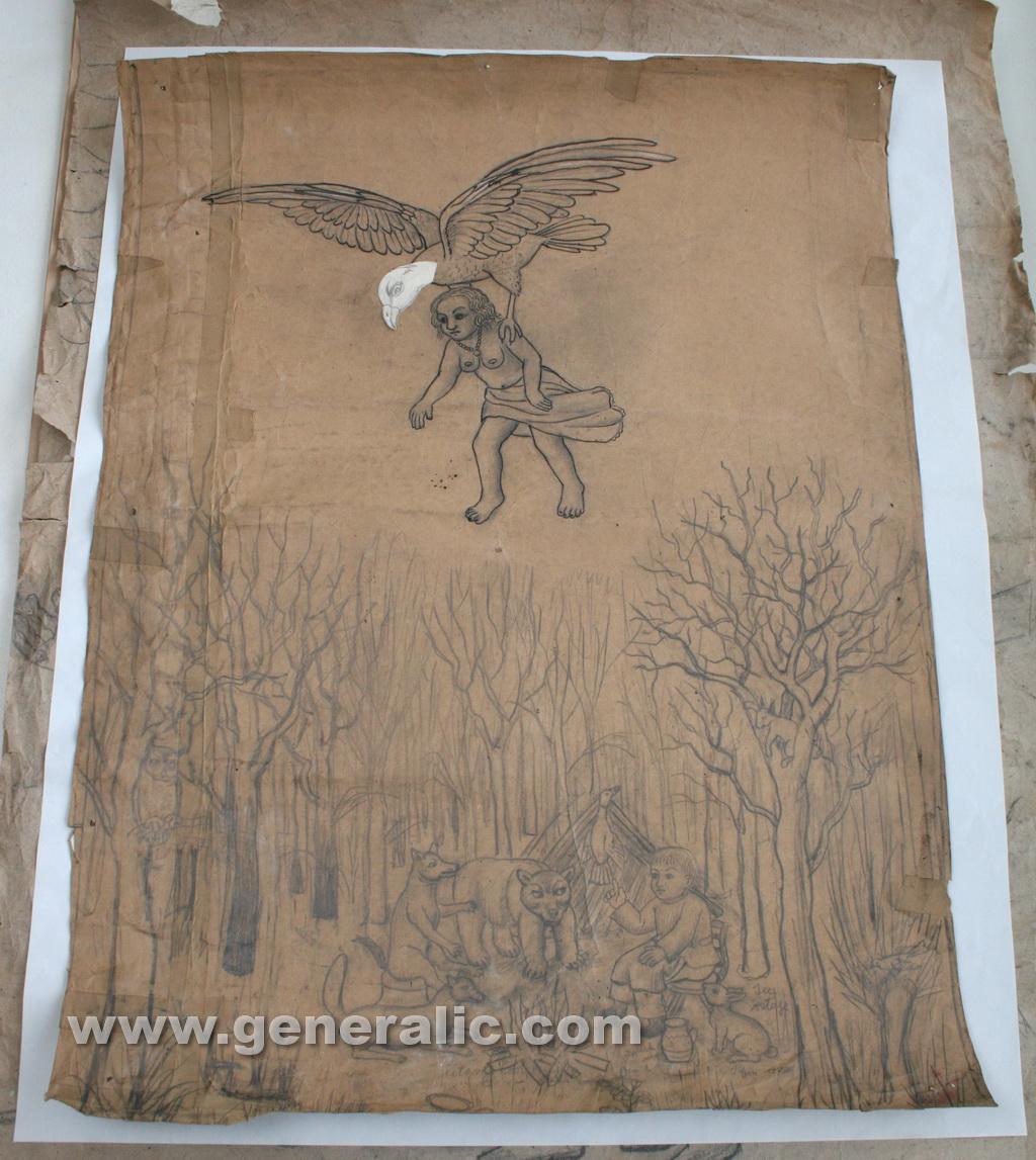 Ivan Generalic, 1970, Boy telling a story, drawing, 100x70 cm