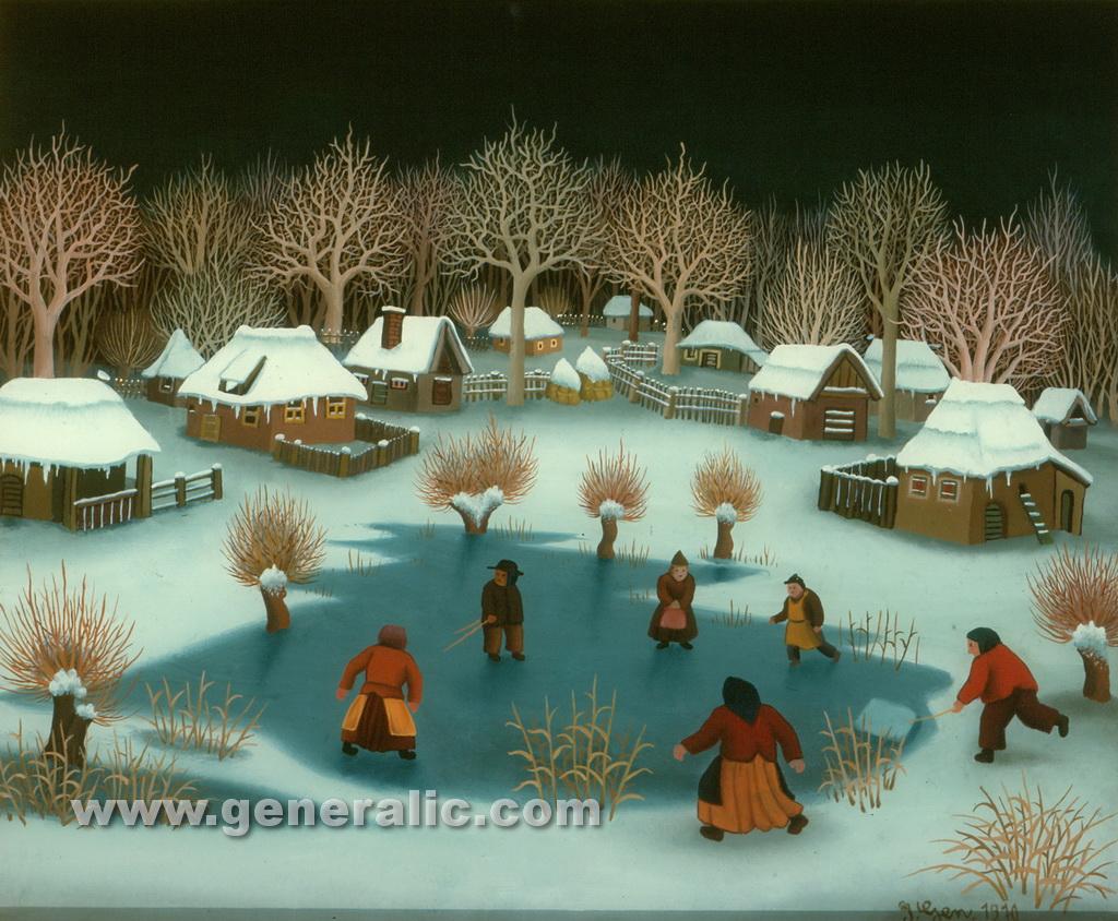 Ivan Generalic, 1970, Children playing on ice, oil on glass