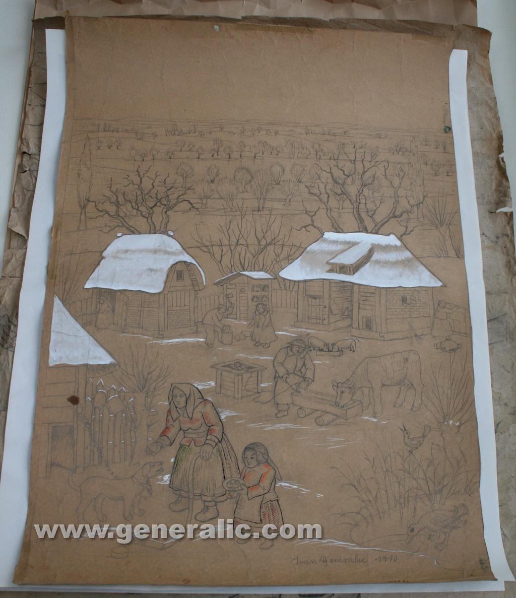 Ivan Generalic, 1970, Feeding a dog, drawing, 102x72 cm