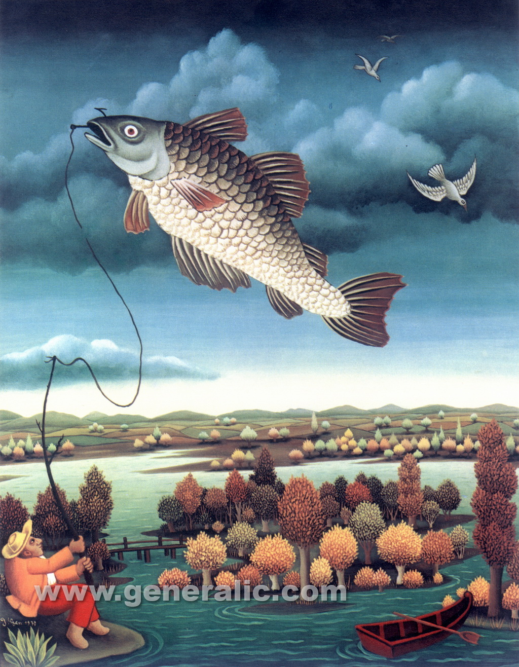 Ivan Generalic, 1970, Fish in the air, oil on glass
