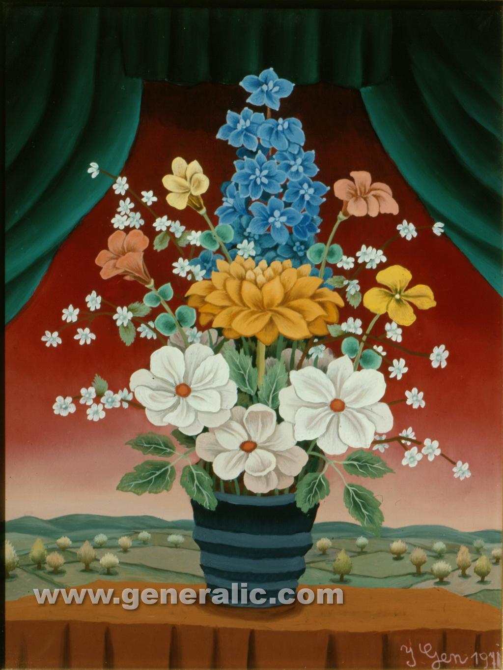 Ivan Generalic, 1970, Flowers on a table, oil on glass