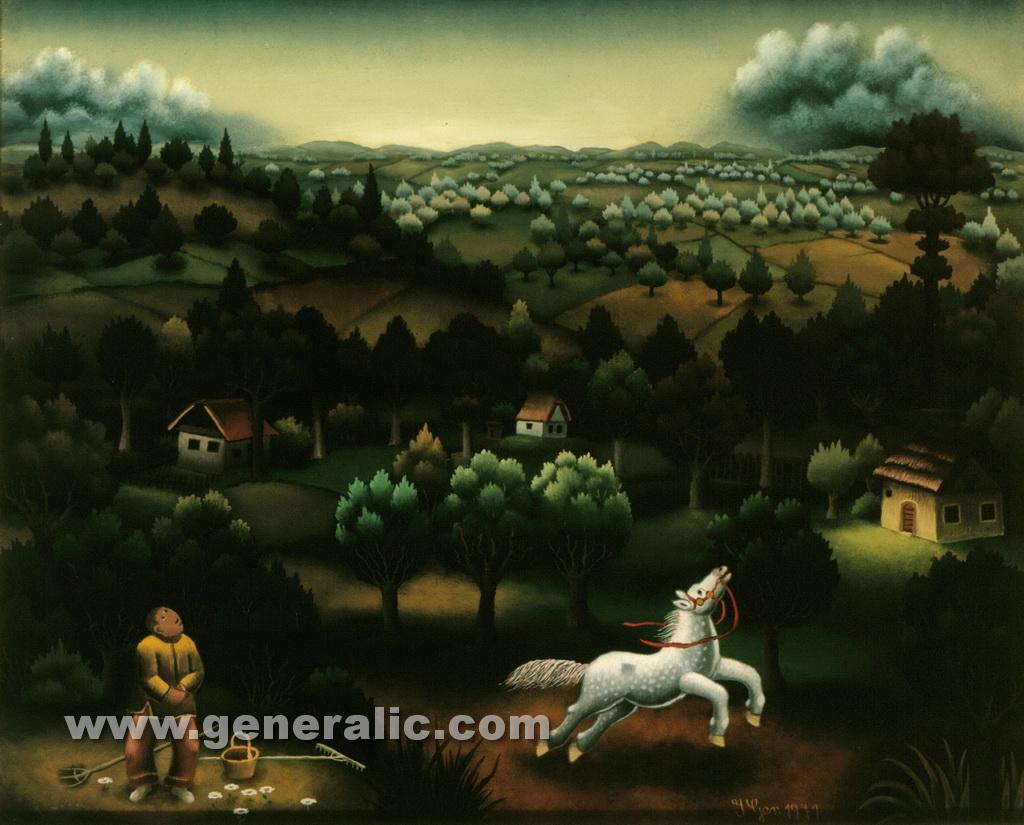 Ivan Generalic, 1971, White horse, oil on glass