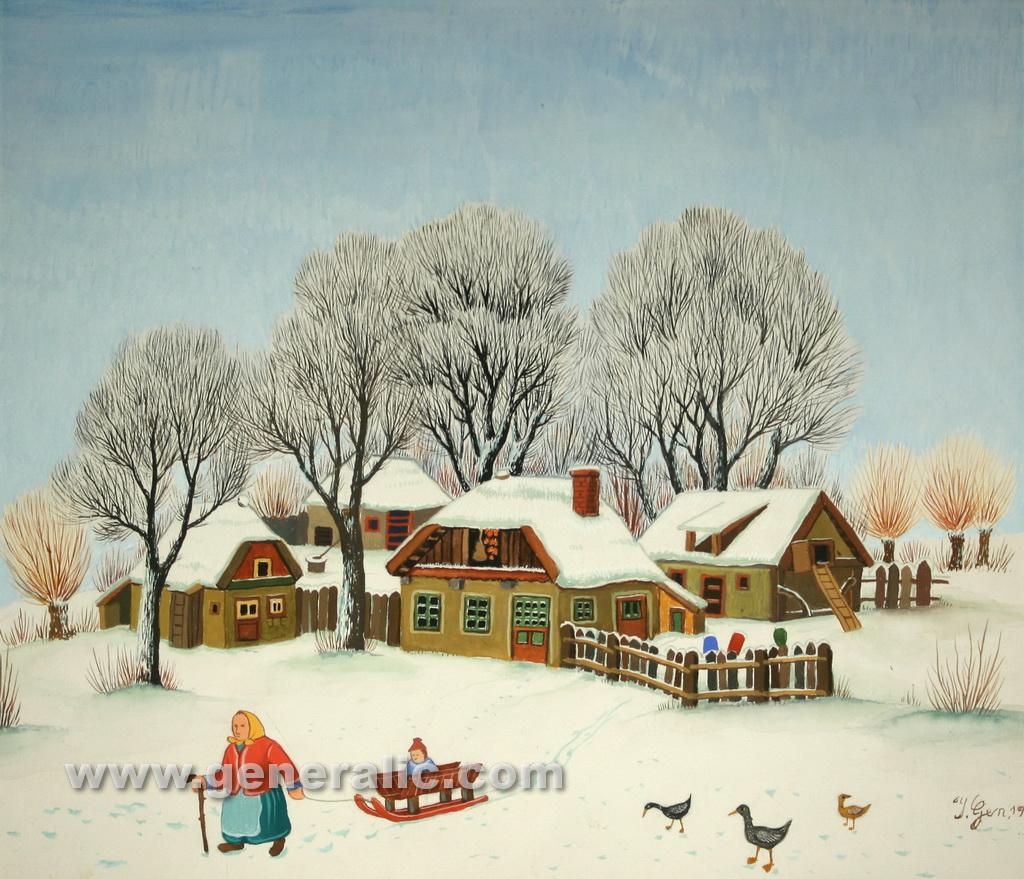 Ivan Generalic, 1971, Winter, watercolour, 46x52 cm