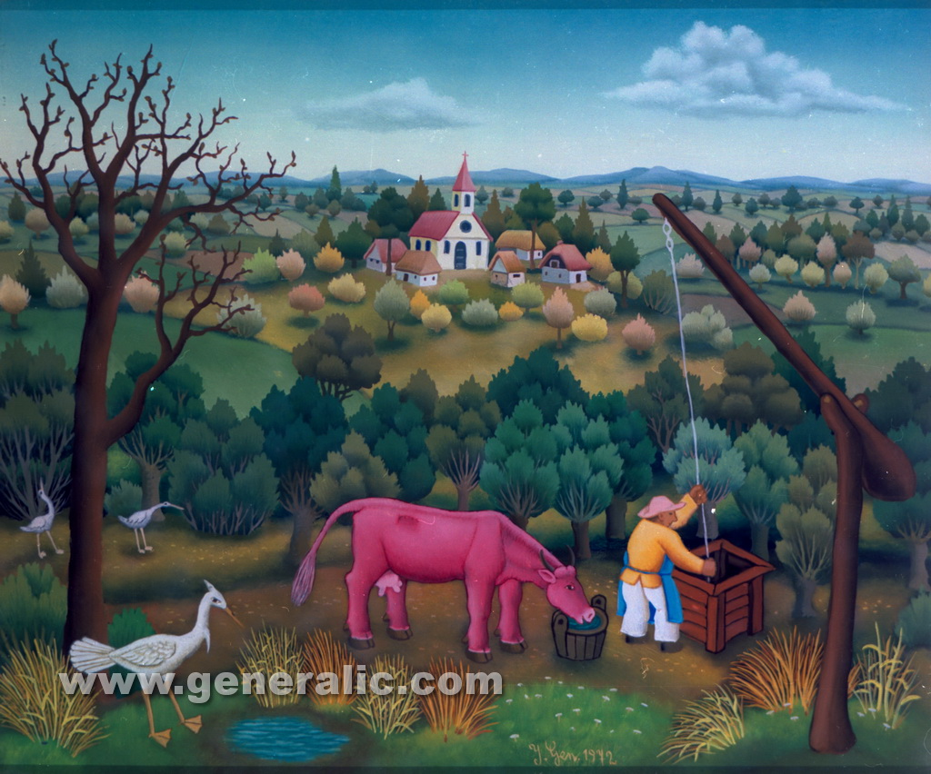 Ivan Generalic, 1972, Cow drinking water 2, oil on glass