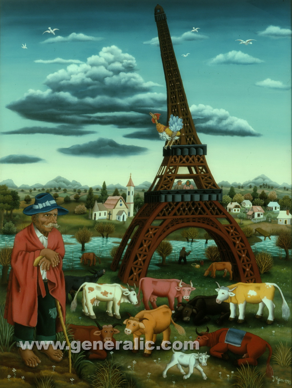 Ivan Generalic, 1972, My Paris, oil on glass