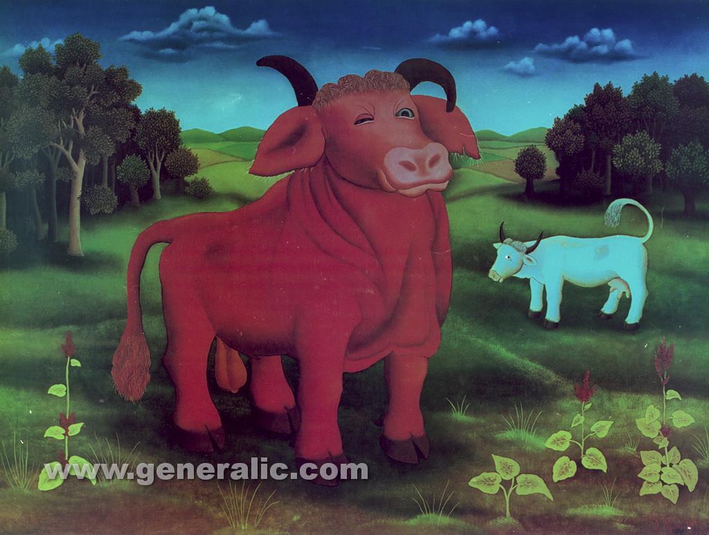 Ivan Generalic, 1972, The red bull, oil on glass