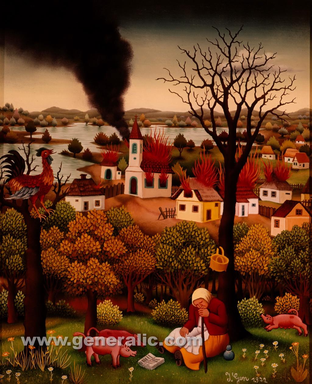 Ivan Generalic, 1972, Village in flames, oil on glass
