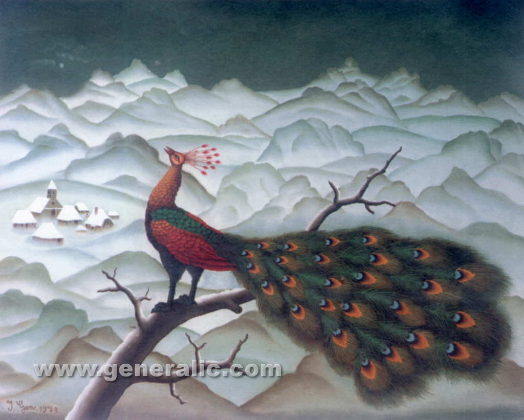 Ivan Generalic, 1973, Peacock on a branch, oil on glass