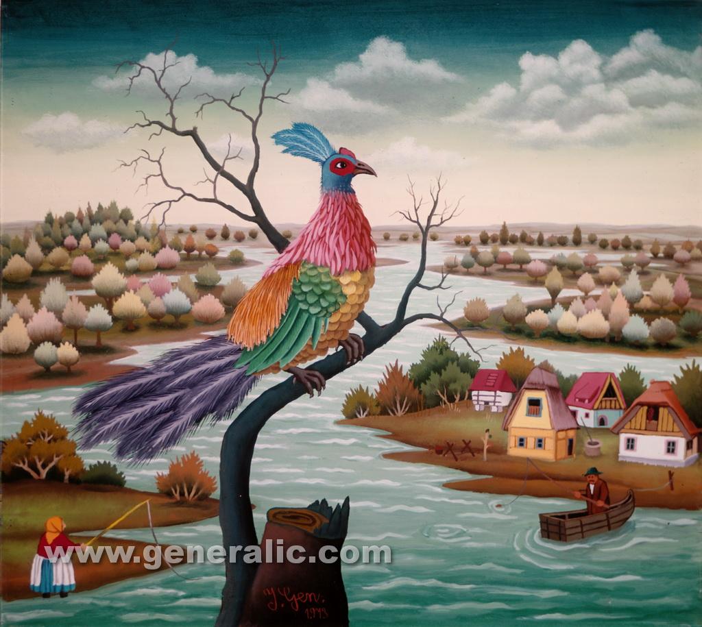 Ivan Generalic, 1973, Peacock on a tree, oil on glass
