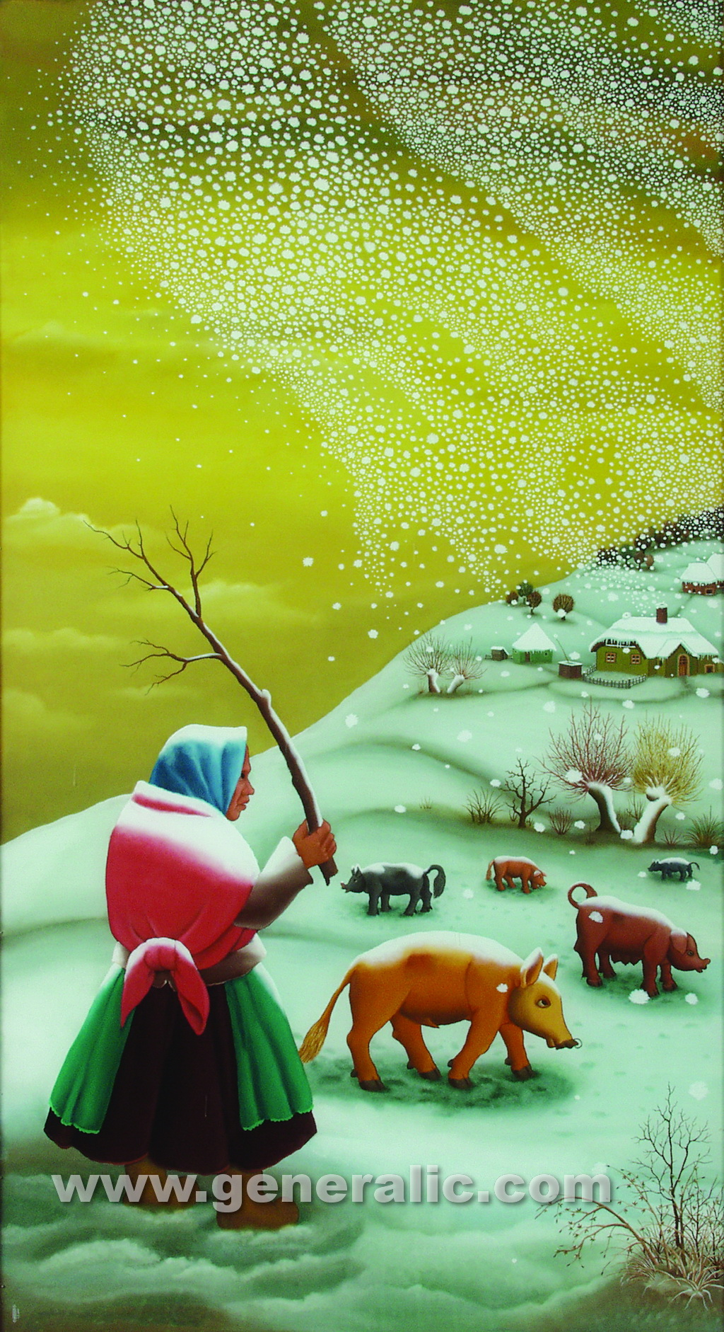 Ivan Generalic, 1973, The first snow - triptych 1, oil on glass