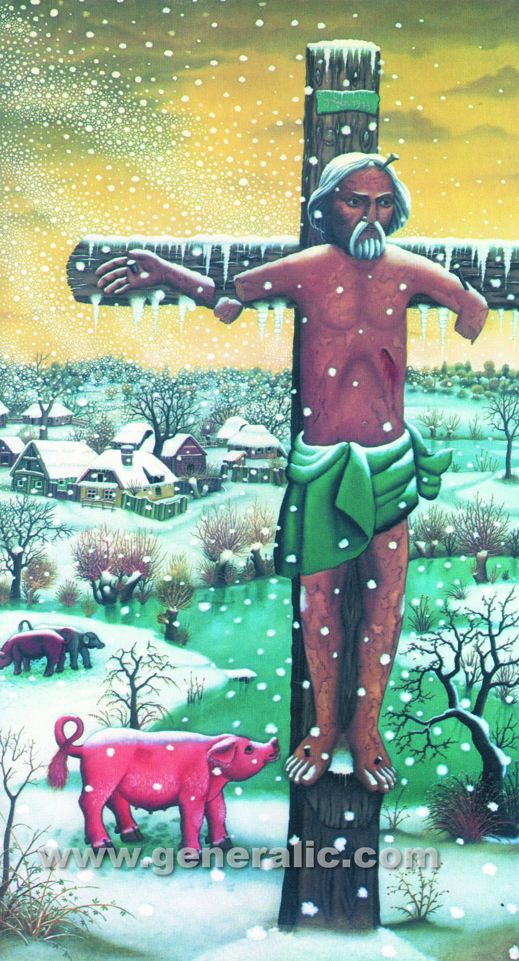 Ivan Generalic, 1973, The first snow - triptych 2, oil on glass