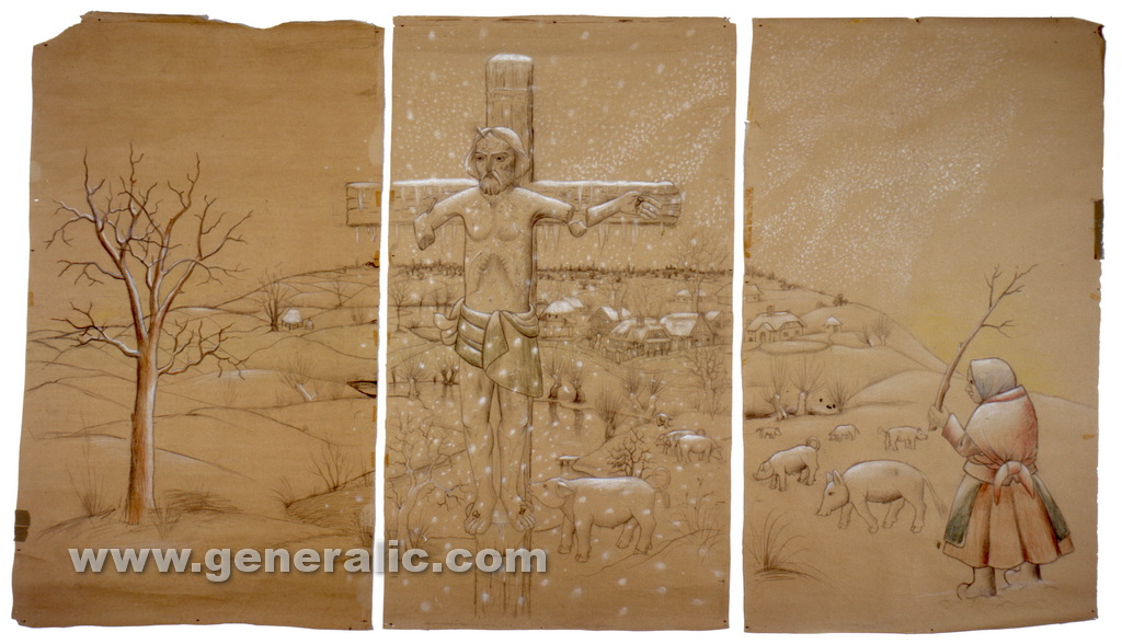 Ivan Generalic, 1973, The first snow triptych, drawing