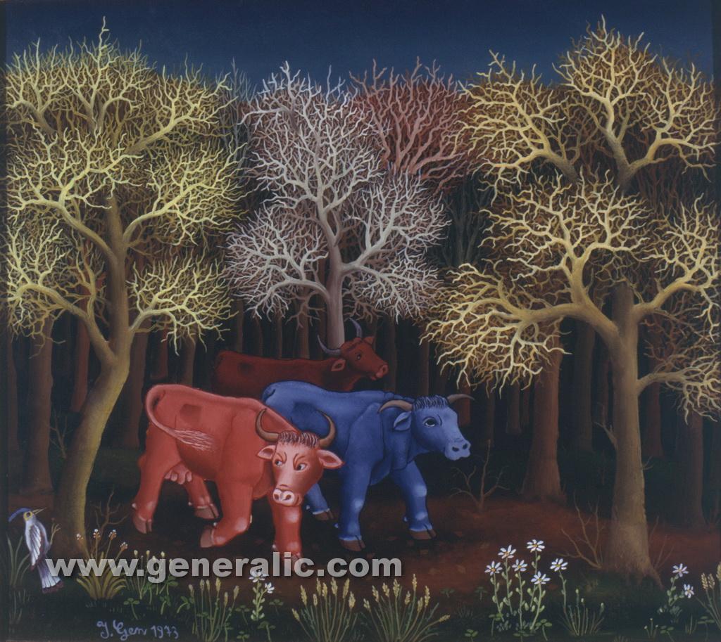 Ivan Generalic, 1973, Three cows in woods, oil on glass