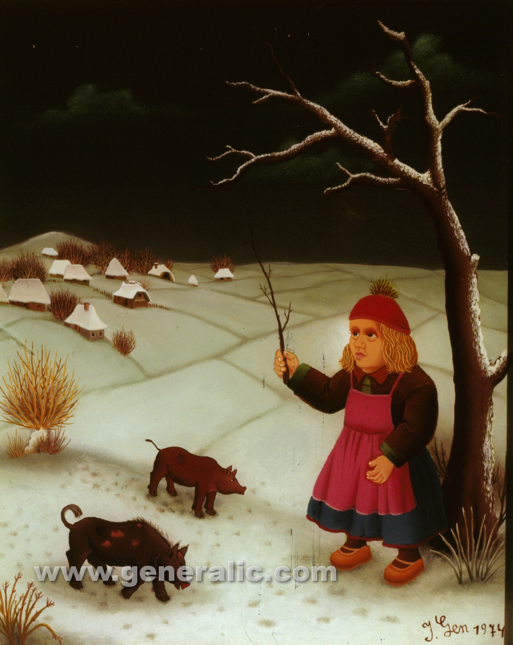Ivan Generalic, 1974, Little girl with pigs, oil on glass