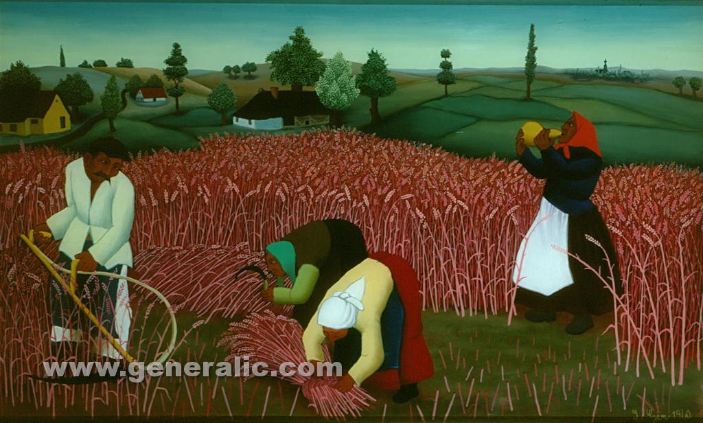 Ivan Generalic, 1974, Mowing the hay, oil on glass