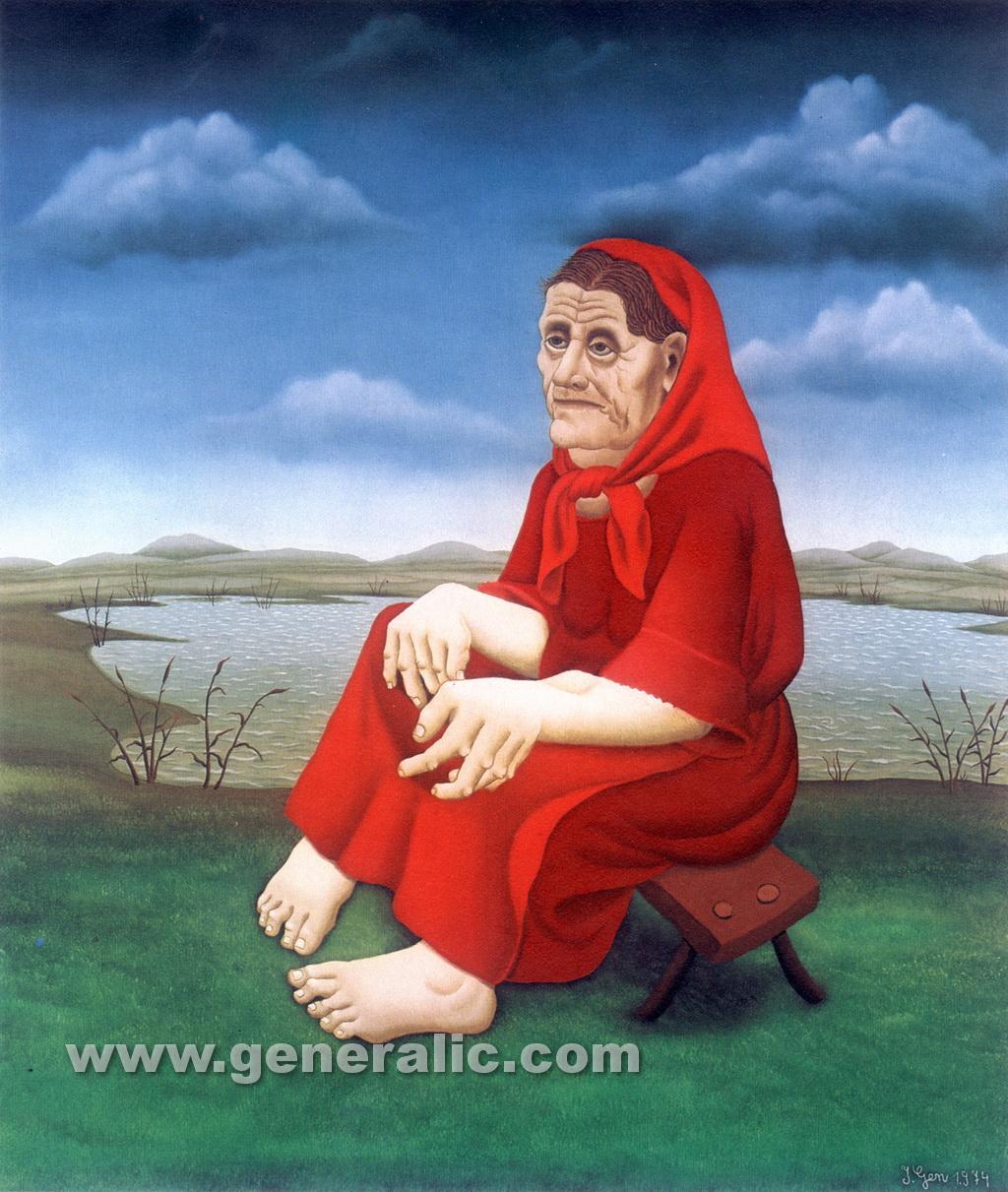 Ivan Generalic, 1974, Old Gipsy woman, oil on glass, 120x100 cm