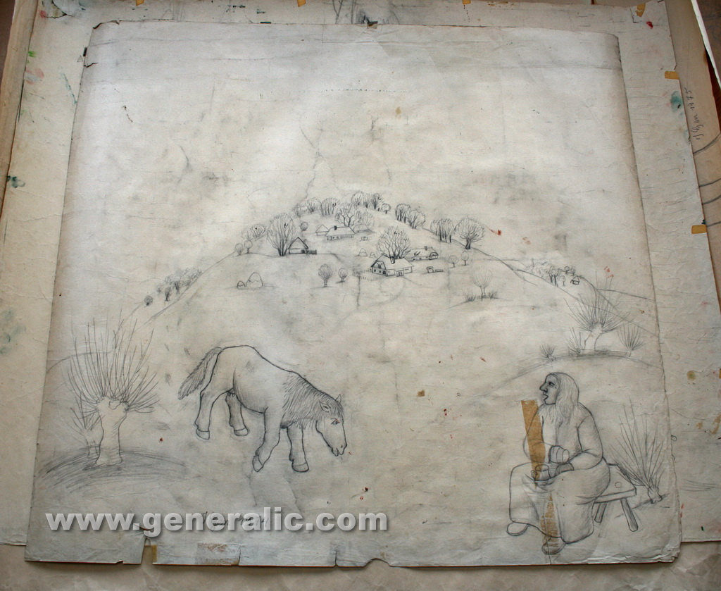 Ivan Generalic, 1974, Woman and horse, drawing, 93x99 cm