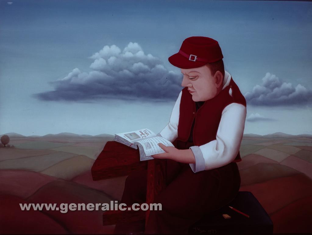 Ivan Generalic, 1975, Boy is reading, oil on glass