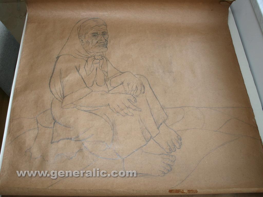 Ivan Generalic, 1975, Gipsy woman, drawing, 125x120 cm