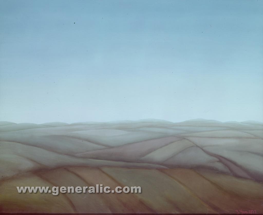 Ivan Generalic, 1975, Landscape, oil on glass