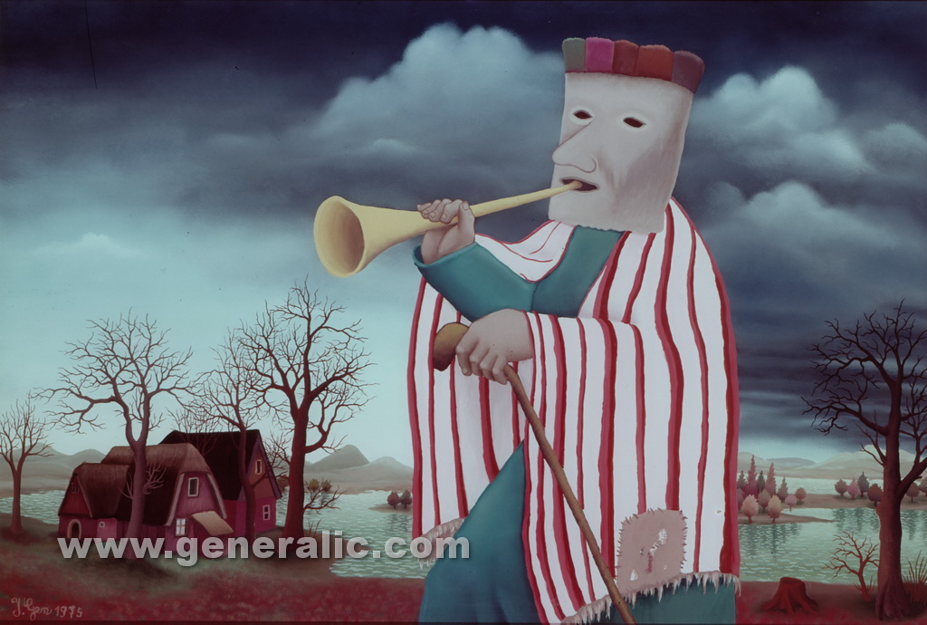 Ivan Generalic, 1975, Mask with a trumpet, oil on glass