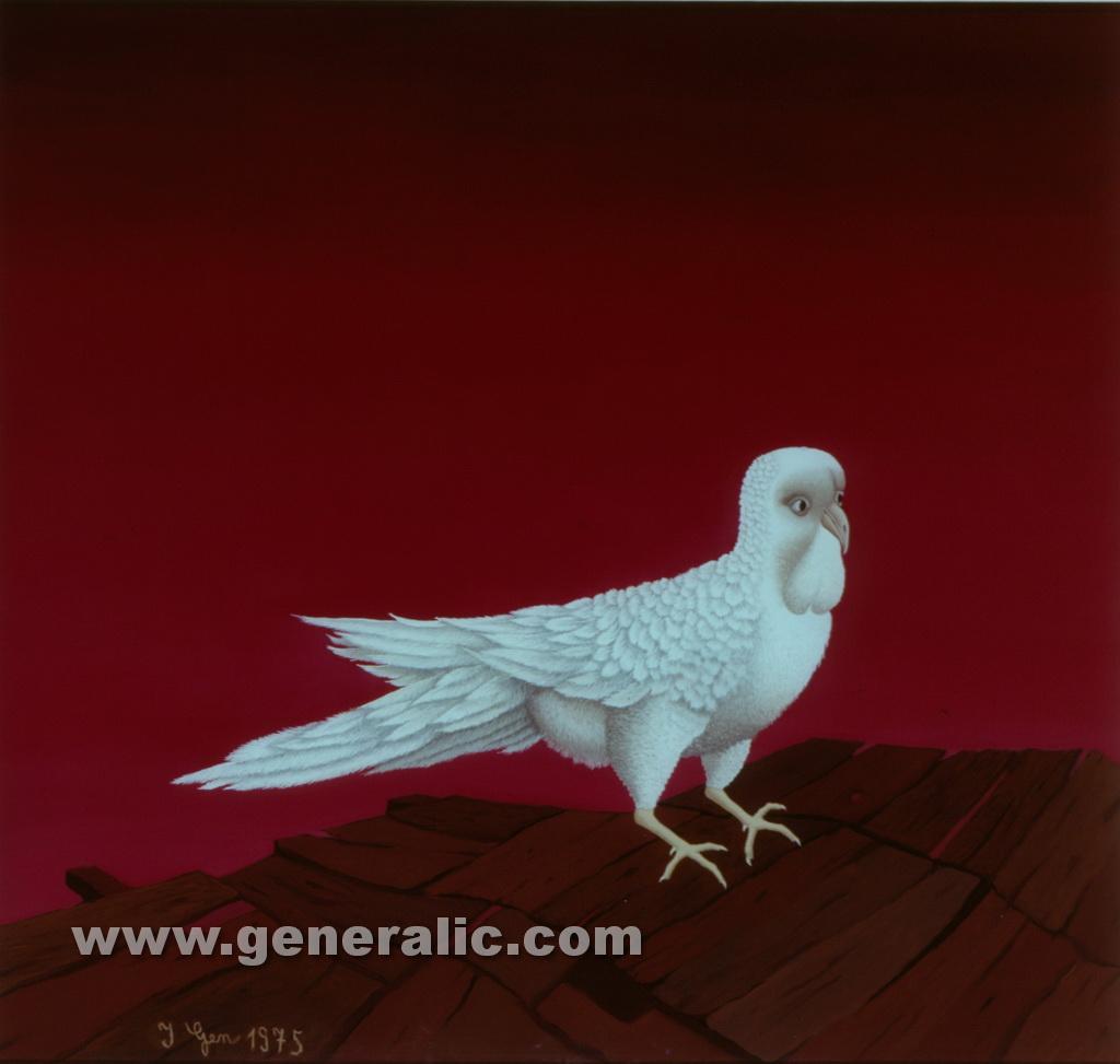 Ivan Generalic, 1975, White dove, oil on glass