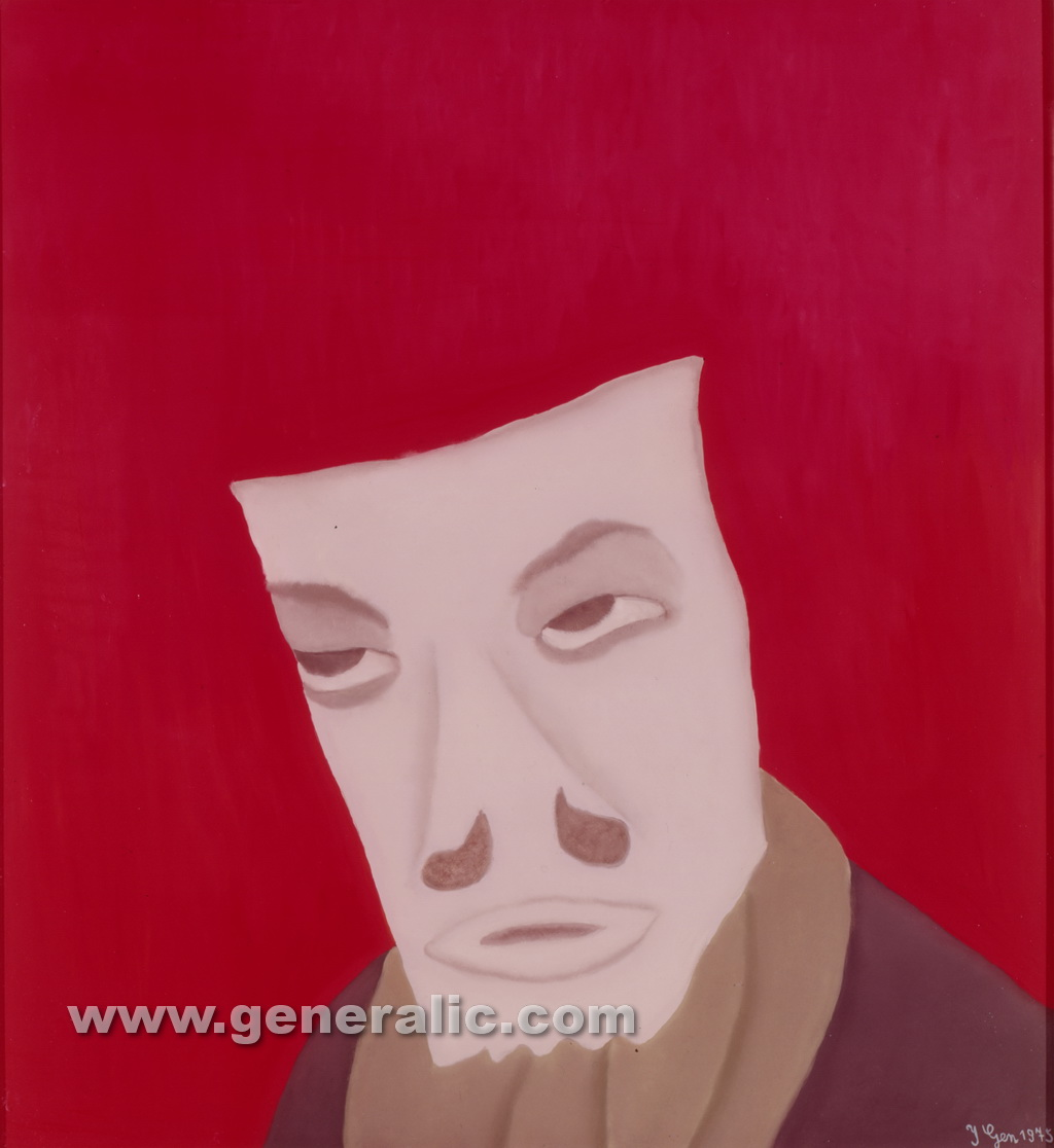Ivan Generalic, 1975, White mask, oil on glass