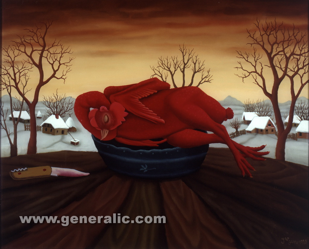 Ivan Generalic, 1978, Red plucked chicken, oil on glass