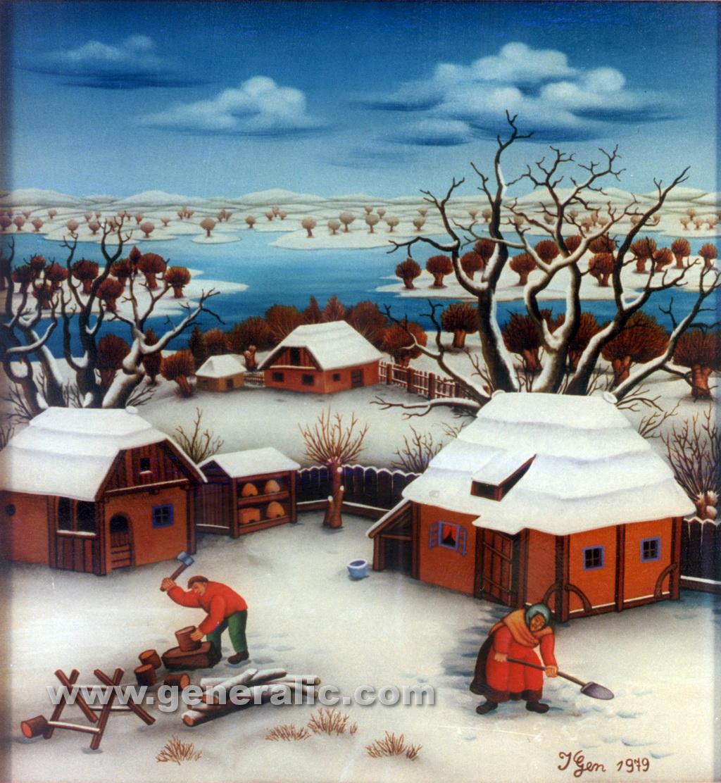 Ivan Generalic, 1979, Backyard in winter, oil on glass, 45x45 cm