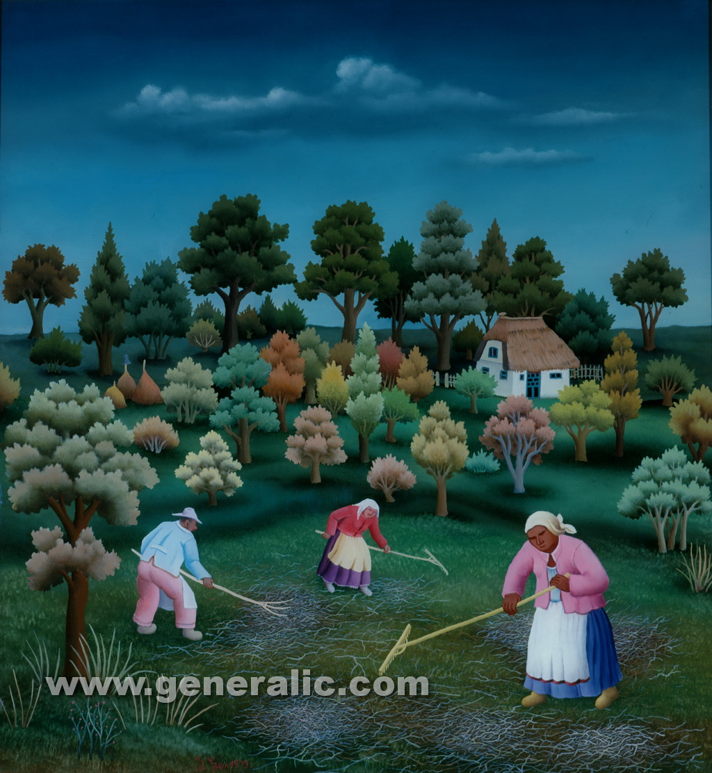 Ivan Generalic, 1979, Gathering the grass, oil on glass