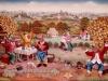 Ivan Generalic, 1970, Big party in vineyard, oil on glass, 70x100 cm