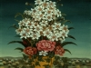 Ivan Generalic, 1970, White and red flowers on a table, oil on glass