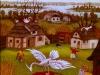 Ivan Generalic, 1970, White bird on red bull, oil on glass